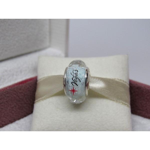 Pandora パンドラ チャーム ビーズ ガラス Las Vegas Star White Murano Glass Bead Charm