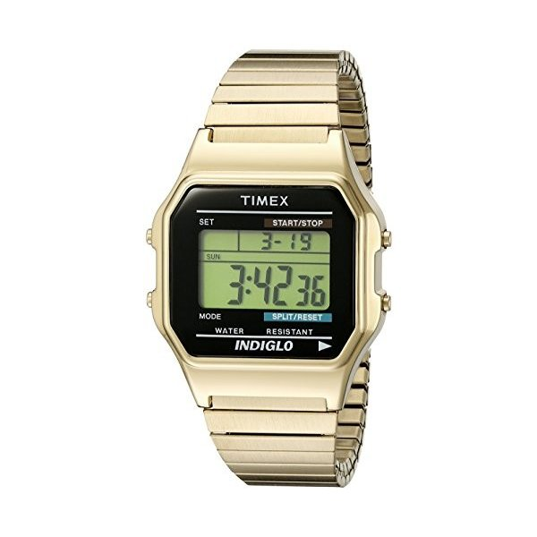 当店1年保証 タイメックスTimex Men's T78677 Classic Digital Gold-Tone Stainless Steel Expansion Band Watch|planetdream