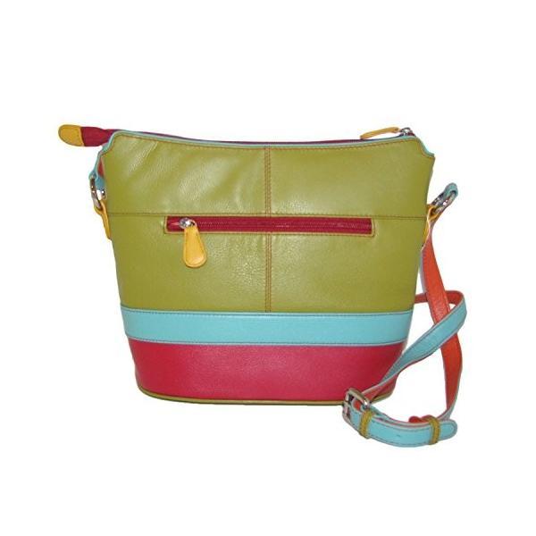 ILIili Leather Color Block Shoulder Handbag (Black Brights)