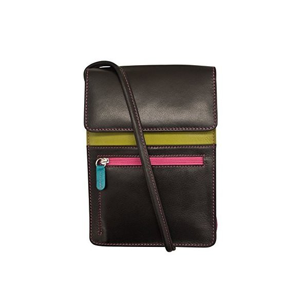 ILI Leather 2 Sided Credit Card Holder With RFID Blocking In Black//Bright