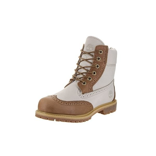 ティンバーランドTimberland Womens 6 inch Premium Brogue Tan/Off White Boot 6.5 Women US
