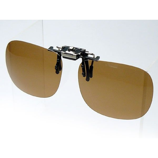 偏光サングラス クリップオン 釣り メガネ用 偏光度99% M-Lサイズ ブラウン偏光