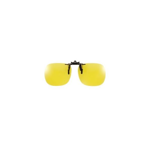 クリップオン メガネの上 偏光サングラス 夜間 雨天 運転 夜釣り用 ルミナスイエローレンズ Lサイズ