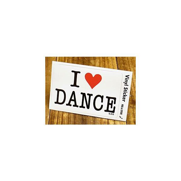 ステッカー 車 アメリカン アイラブ おしゃれ バイク ヘルメット かっこいい 愛してる I LOVE DANCE ダンス メール便OK_SC-IL010-GEN