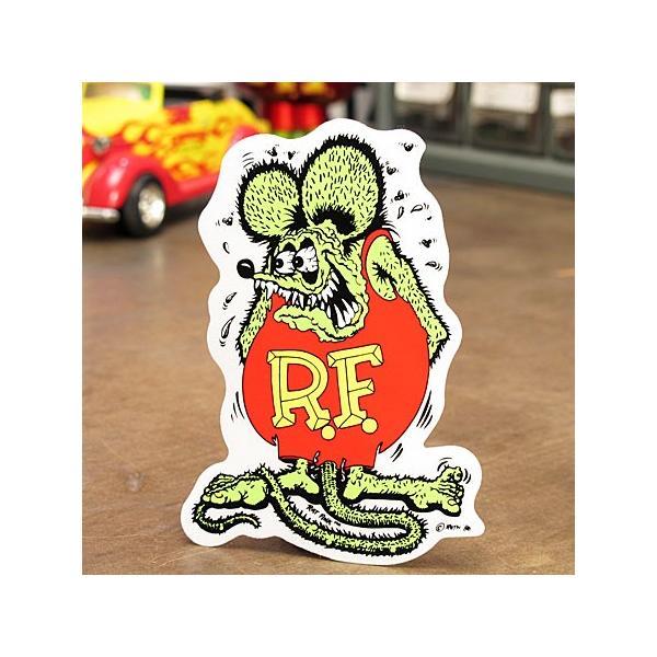 ラットフィンク ステッカー 車 アメリカン キャラクター おしゃれ バイク ヘルメット ホットロッド RatFink サイズS グリーン メール便OK_SC-RD002GR-MON