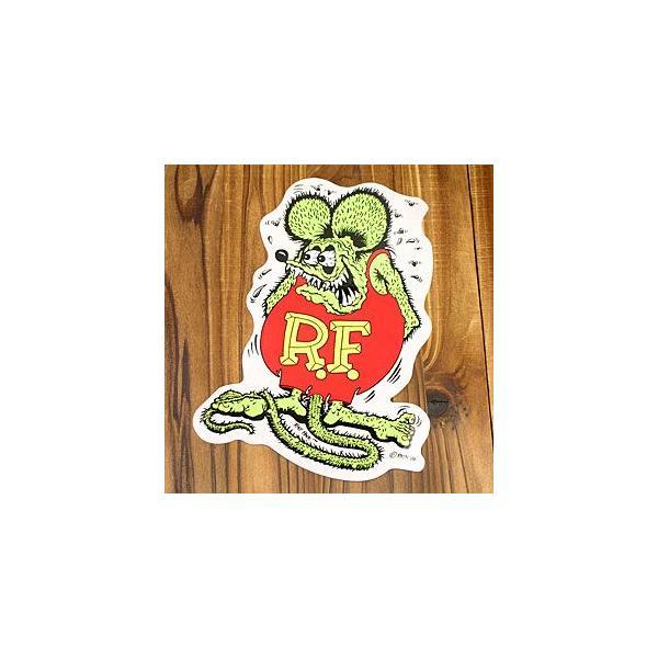 ラットフィンク ステッカー 車 アメリカン キャラクター おしゃれ バイク ヘルメット ホットロッド RatFink サイズL グリーン メール便OK_SC-RD001GR-MON
