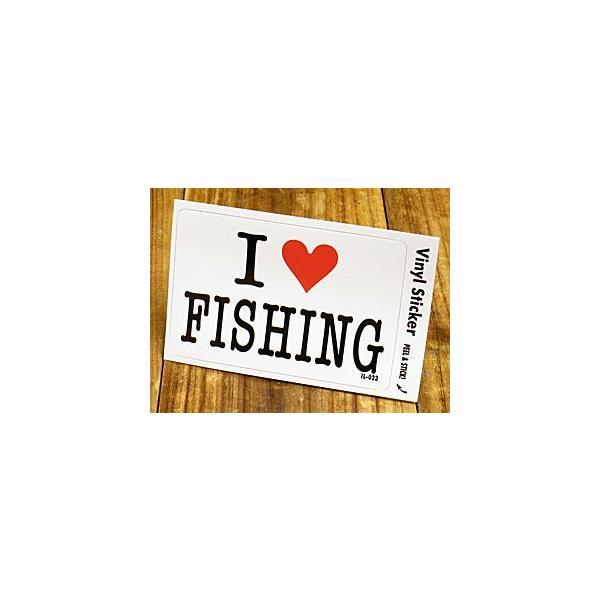 ステッカー 車 アメリカン アイラブ おしゃれ バイク ヘルメット かっこいい 愛してる I LOVE FISHING 釣り メール便OK_SC-IL023-GEN