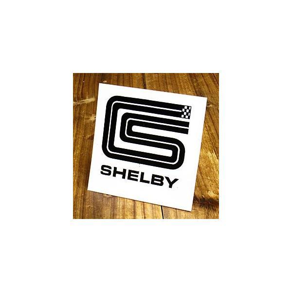 ステッカー 車 シェルビー アメリカン おしゃれ バイク ヘルメット かっこいい 復刻 SHELBY スクエア メール便OK_SC-DF0501-MON