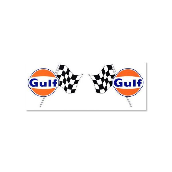 ステッカー 車 アメリカン おしゃれ バイク ヘルメット かっこいい カーステッカー ガルフ Gulf チェッカーフラッグ 2Pセット メール便OK_SC-GULF006-HYS