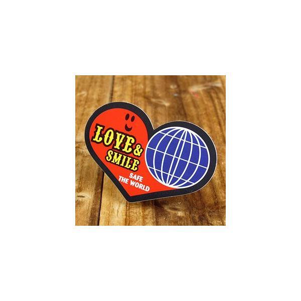 ステッカー 車 アメリカン おしゃれ バイク ヘルメット かっこいい ハート LOVE&SMILE メール便OK_SC-LS006-SXW