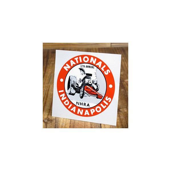 ステッカー 車 アメリカン おしゃれ バイク ヘルメット かっこいい 復刻 NHRA 全米ホットロッド協会 NATIONALS INDIANAPOLIS 1966 メール便OK_SC-DZ286-MON