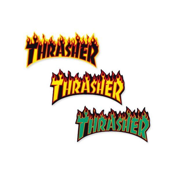 スラッシャー ステッカー ブランド かっこいい おしゃれ アウトドア アメリカン スケボー ストリート 車 バイク スーツケース THRASHER FLAME BIG 02