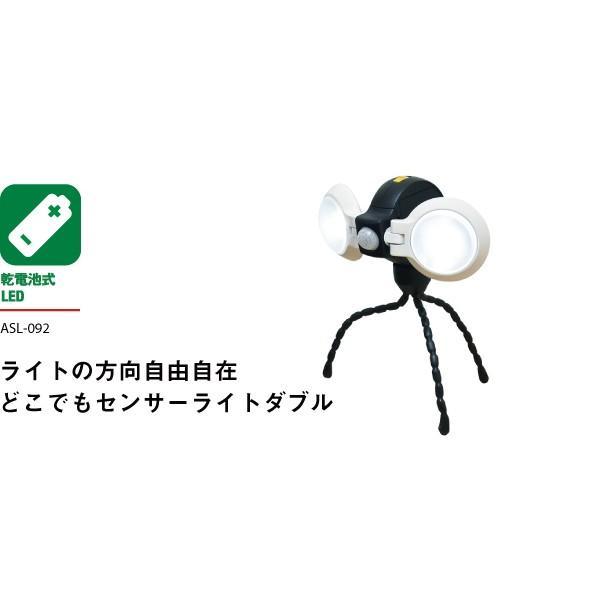 ムサシ RITEX ライテックス ASL-092 「乾電池式・防雨型」 どこでもセンサーライトダブル(2灯機式)