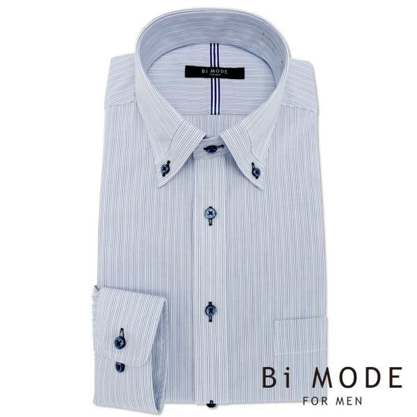 ワイシャツ メンズ 長袖 形態安定 形状記憶 標準型 BiMODE ボタンダウン P12BMB311|plateau-web|02