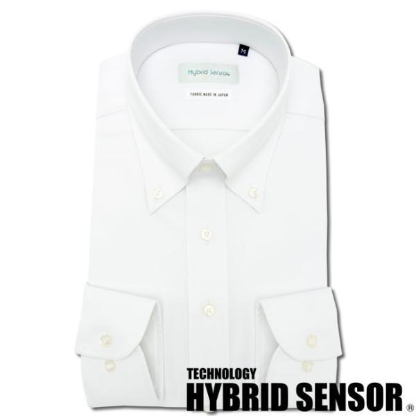 ワイシャツ メンズ 長袖 形態安定 形状記憶 標準型 HybridSensor ボタンダウン P12HBB237 plateau-web 02