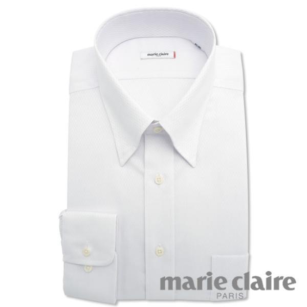 ワイシャツ メンズ 長袖 形態安定 形状記憶 標準型 marieclaire スナップダウン P12MCZD02|plateau-web|02