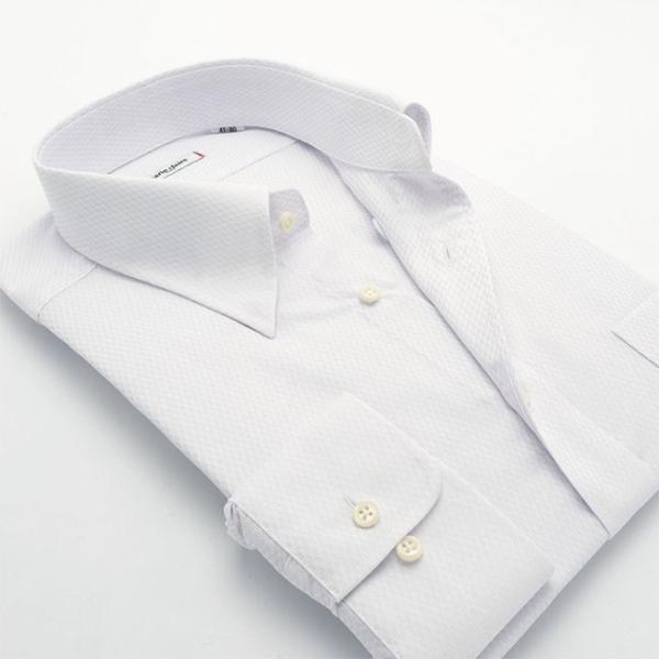 ワイシャツ メンズ 長袖 形態安定 形状記憶 標準型 marieclaire スナップダウン P12MCZD02|plateau-web|03