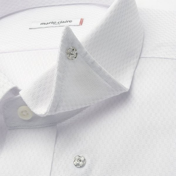 ワイシャツ メンズ 長袖 形態安定 形状記憶 標準型 marieclaire スナップダウン P12MCZD02|plateau-web|06