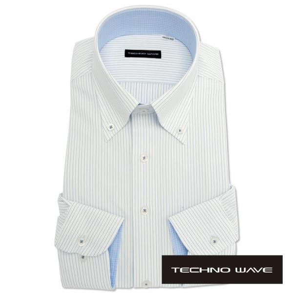 ワイシャツ メンズ 長袖 形態安定 形状記憶 標準型 TECHNOWAVE ボタンダウン P12TWB242|plateau-web|02