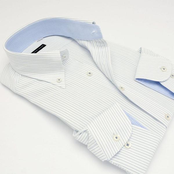ワイシャツ メンズ 長袖 形態安定 形状記憶 標準型 TECHNOWAVE ボタンダウン P12TWB242|plateau-web|03