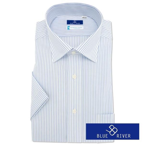 ワイシャツ メンズ 半袖 形態安定 形状記憶 標準型 BLUERIVER ワイドスプレッド P16BRW217 plateau-web 02