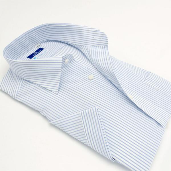 ワイシャツ メンズ 半袖 形態安定 形状記憶 標準型 BLUERIVER ワイドスプレッド P16BRW217 plateau-web 03