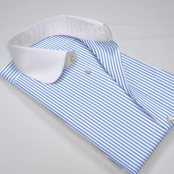 ワイシャツ Yシャツ メンズ長袖・半袖 ラウンドカラー 大丸 クレリック ライトブルーロンスト  軽井沢シャツ Y10KZC213|plateau-web|03