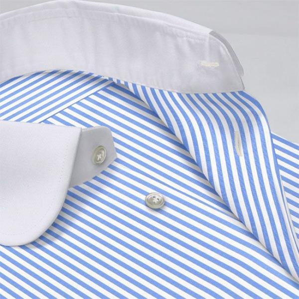 ワイシャツ Yシャツ メンズ長袖・半袖 ラウンドカラー 大丸 クレリック ライトブルーロンスト  軽井沢シャツ Y10KZC213|plateau-web|04