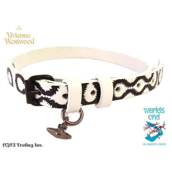 ヴィヴィアンウエストウッドVivienne Westwood Squiggle スクイグル柄 レザー チョーカー ネックバンド Cuff ブレス ワールズエンド限定版 (Black/WH)