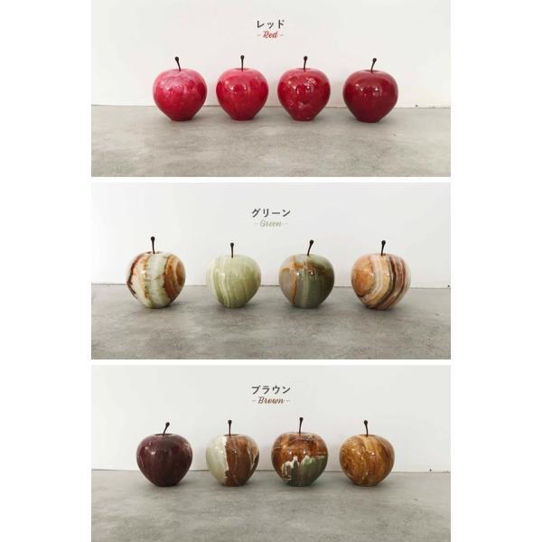 マーブルアップル Marble Apple レッド グリーン ブラウン 大理石 ペーパーウェイト リンゴ 林檎 オブジェ 置き物|play-d-play|03
