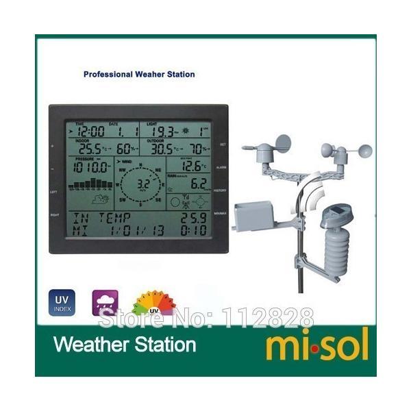 Misol / プロフェッショナル ウェザー ステーション / 風速 風向 雨計 圧力 温度 湿度 uv playone