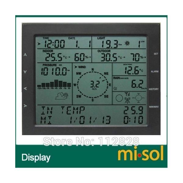 Misol / プロフェッショナル ウェザー ステーション / 風速 風向 雨計 圧力 温度 湿度 uv playone 03