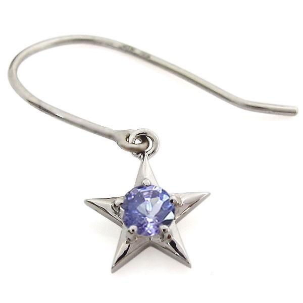 プラチナ 可愛い 星ピアス タンザナイトピアス レディース