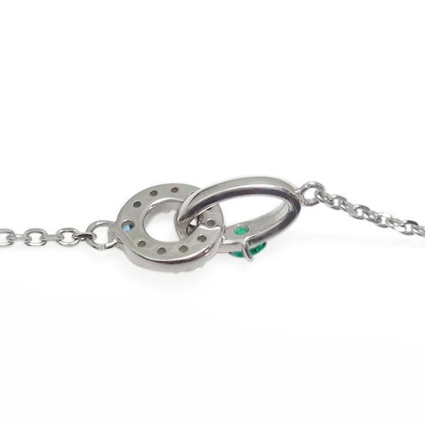 プラチナ ダブルリング エメラルドアンクレット Infinity ブレス