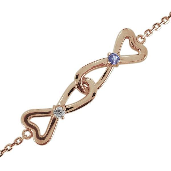 アンクレット ダイヤモンド 4月誕生石 レディース 無限大 ハート 10金