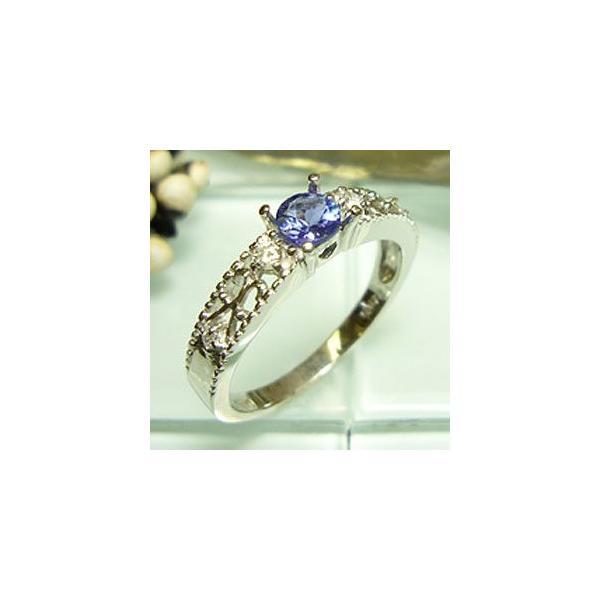 Pt900 プラチナ リング タンザナイト ダイヤモンド 指輪