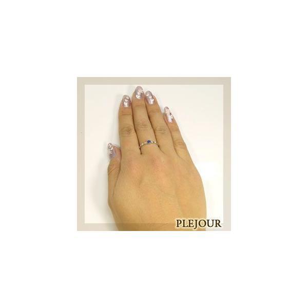 プラチナ サファイア リング シンプル 一粒 指輪