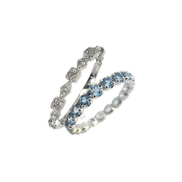 ダイヤモンド ブルートパーズ エタニティーリング プラチナ 指輪 ペアリング ファランジリング