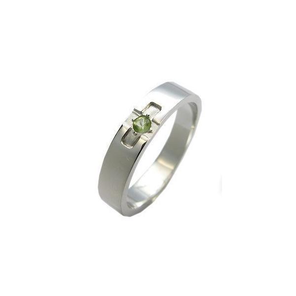 プラチナ ペリドット リング クロスリング 結婚指輪 ファランジリング