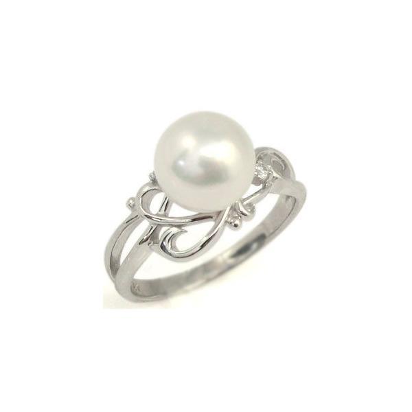 あこや本真珠 指輪 パールリング プラチナ ピンキーリング 真珠指輪