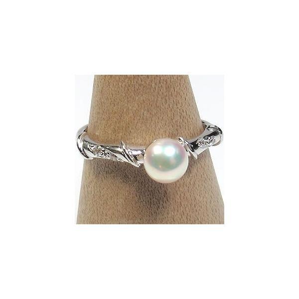 真珠指輪 パールリング プラチナ あこや本真珠 ピンキーリング ファランジリング