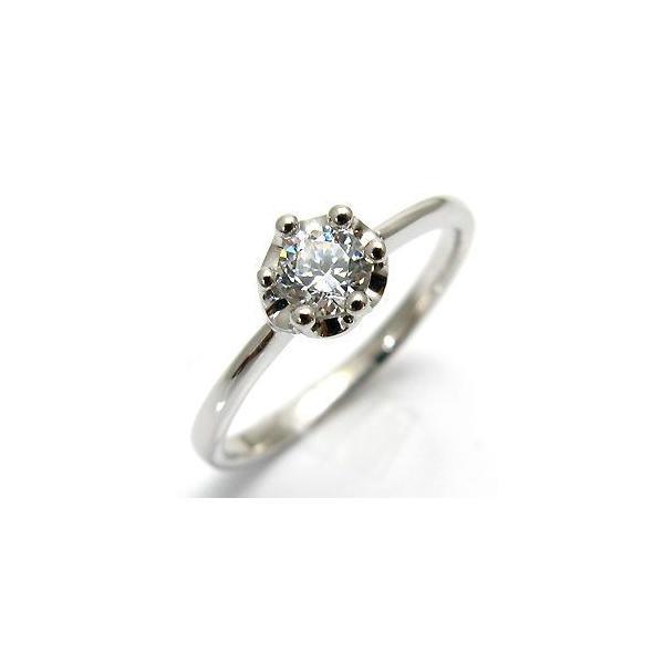 プラチナ 一粒 ダイヤモンド リング 婚約指輪 シンプル 王冠