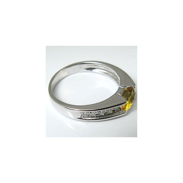 指輪 レディース k18ゴールド シトリン リング 一粒