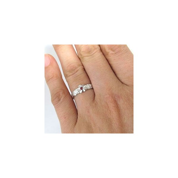 レリーフ・k18ゴールド・ハワイアンジュエリー・ルビー・リング・指輪