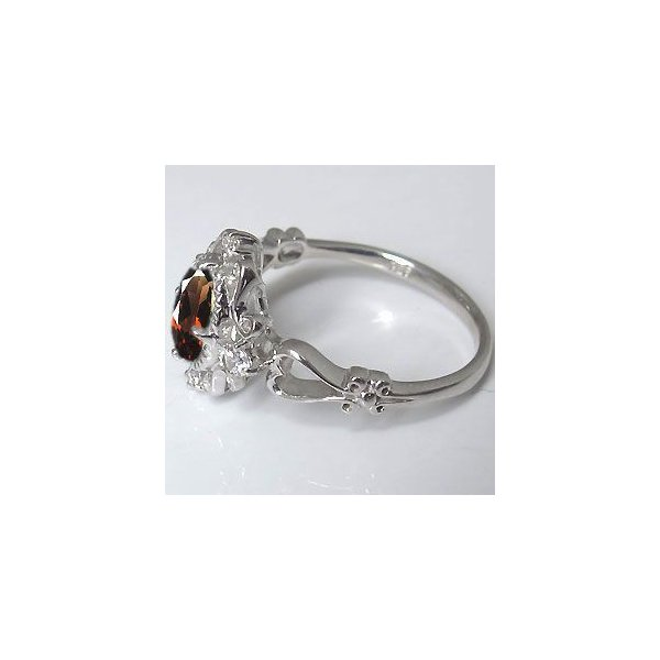 プラチナ 指輪 一粒 アンティーク ガーネット リング