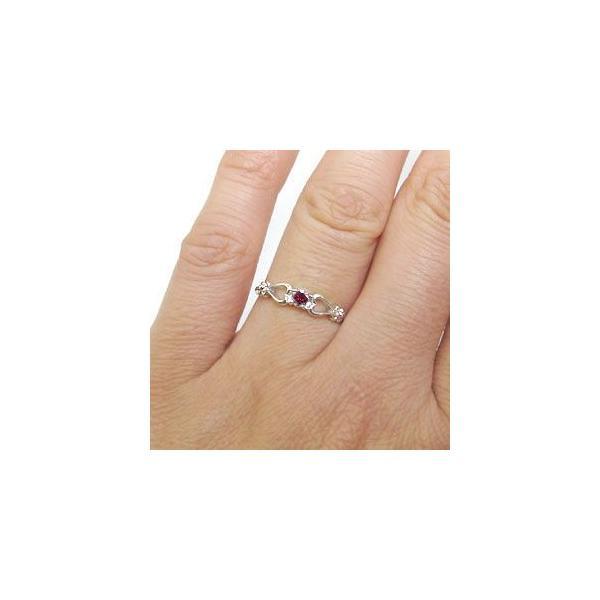 プラチナ ルビー リング ハート 一粒 指輪
