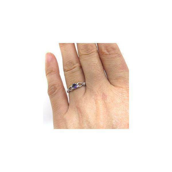 プラチナ リング ハート 一粒 指輪 アメジスト