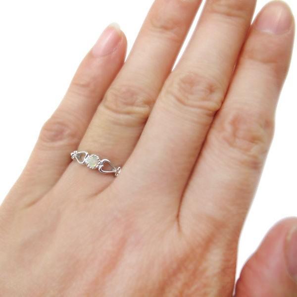 プラチナ 指輪 一粒 ハート オパール リング