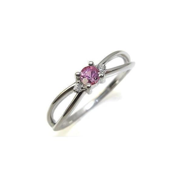 ピンクサファイア リング 18金 指輪 一粒 ピンクサファイヤリング