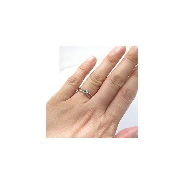アクアマリンサンタマリア リング K10 一粒 シンプル 指輪